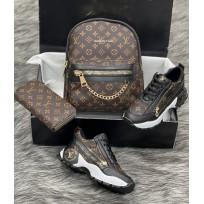 Дамска раница спортни обувки и портфейл