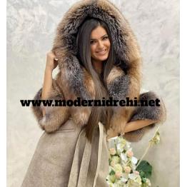 Дамско палто кашмир вълна лисица